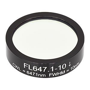 FL647.1-10 - Ø1in Laser Line Filter, CWL = 647.1 ± 2 nm, FWHM = 10 ± 2 nm
