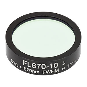 FL670-10 - Ø1in Laser Line Filter, CWL = 670 ± 2 nm, FWHM = 10 ± 2 nm