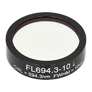 FL694.3-10 - Ø1in Laser Line Filter, CWL = 694.3 ± 2 nm, FWHM = 10 ± 2 nm