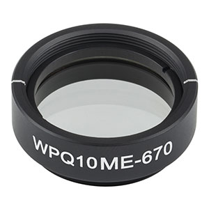 WPQ10ME-670 - Ø1in Mounted Polymer Zero-Order Quarter-Wave Plate, SM1-Threaded Mount, 670 nm