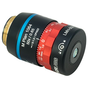 LMH-50X-1064 - High-Power MicroSpot Focusing Objective with Correction Collar, 50X, 980 - 1130 nm, NA= 0.65