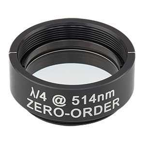 WPQ10M-514 - Ø1in Zero-Order Quarter-Wave Plate, SM1-Threaded Mount, 514 nm