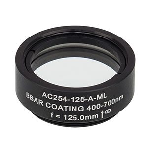 AC254-125-A-ML - f=125 mm, Ø1in Achromatic Doublet, SM1-Threaded Mount, ARC: 400-700 nm