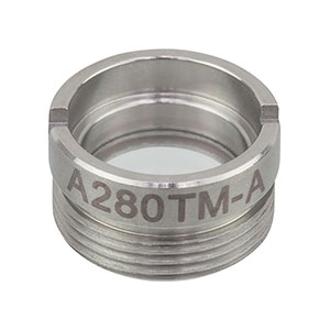 A280TM-A - f = 18.40 mm, NA = 0.15, Mounted Rochester Aspheric Lens, AR: 350 - 700 nm