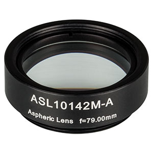 ASL10142M-A - Ø1in Aspheric Lens, SM1 Mounted, f = 79.0 mm, NA = 0.143, AR Coated: 350 - 700 nm