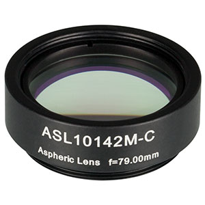 ASL10142M-C - Ø1in Aspheric Lens, SM1 Mounted, f = 79.0 mm, NA = 0.143, AR Coated: 1050 - 1700 nm