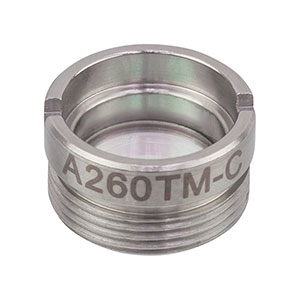 A260TM-C - f = 15.29 mm, NA = 0.16, Mounted Rochester Aspheric Lens, AR:1050-1620nm