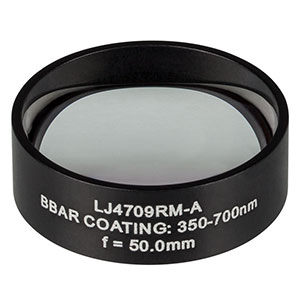 LJ4709RM-A - f = 50.0 mm, Ø1in, UVFS Mounted Plano-Convex Round Cyl Lens, ARC: 350 - 700 nm