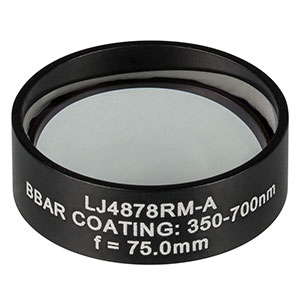 LJ4878RM-A - f = 75.0 mm, Ø1in, UVFS Mounted Plano-Convex Round Cyl Lens, ARC: 350 - 700 nm