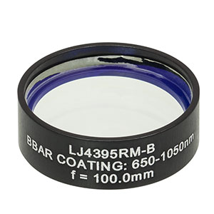 LJ4395RM-B - f = 100.0 mm, Ø1in, UVFS Mounted Plano-Convex Round Cyl Lens, ARC: 650 - 1050 nm