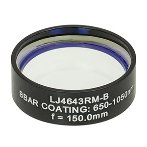 LJ4643RM-B - f = 150.0 mm, Ø1in, UVFS Mounted Plano-Convex Round Cyl Lens, ARC: 650 - 1050 nm