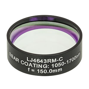 LJ4643RM-C - f = 150.0 mm, Ø1in, UVFS Mounted Plano-Convex Round Cyl Lens, ARC: 1050 - 1700 nm