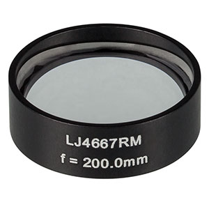 LJ4667RM - f = 200.0 mm, Ø1in, UVFS Mounted Plano-Convex Round Cyl Lens