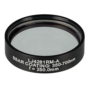 LJ4281RM-A - f = 250.0 mm, Ø1in, UVFS Mounted Plano-Convex Round Cyl Lens, ARC: 350 - 700 nm
