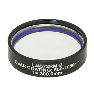 LJ4572RM-B - f = 300.0 mm, Ø1in, UVFS Mounted Plano-Convex Round Cyl Lens, ARC: 650 - 1050 nm