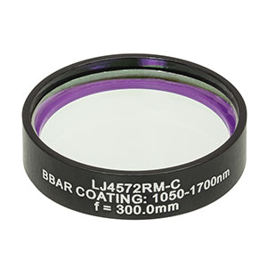LJ4572RM-C - f = 300.0 mm, Ø1in, UVFS Mounted Plano-Convex Round Cyl Lens, ARC: 1050 - 1700 nm