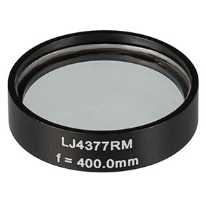 LJ4377RM - f = 400.0 mm, Ø1in, UVFS Mounted Plano-Convex Round Cyl Lens