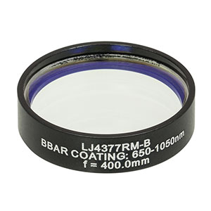 LJ4377RM-B - f = 400.0 mm, Ø1in, UVFS Mounted Plano-Convex Round Cyl Lens, ARC: 650 - 1050 nm