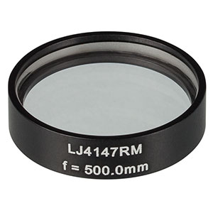 LJ4147RM - f = 500.0 mm, Ø1in, UVFS Mounted Plano-Convex Round Cyl Lens