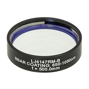 LJ4147RM-B - f = 500.0 mm, Ø1in, UVFS Mounted Plano-Convex Round Cyl Lens, ARC: 650 - 1050 nm