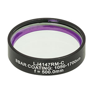 LJ4147RM-C - f = 500.0 mm, Ø1in, UVFS Mounted Plano-Convex Round Cyl Lens, ARC: 1050 - 1700 nm