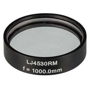 LJ4530RM - f = 1000.0 mm, Ø1in, UVFS Mounted Plano-Convex Round Cyl Lens