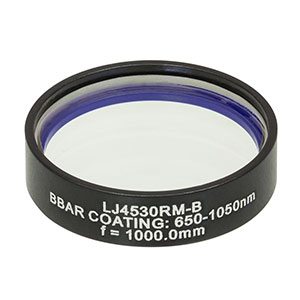 LJ4530RM-B - f = 1000.0 mm, Ø1in, UVFS Mounted Plano-Convex Round Cyl Lens, ARC: 650 - 1050 nm
