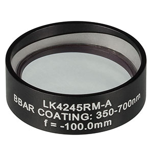 LK4245RM-A - f= -100.0 mm, Ø1in, UVFS Mounted Plano-Concave Round Cyl Lens, ARC: 350 - 700 nm