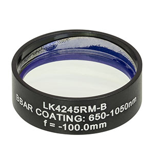 LK4245RM-B - f= -100.0 mm, Ø1in, UVFS Mounted Plano-Concave Round Cyl Lens, ARC: 650 - 1050 nm