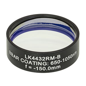 LK4432RM-B - f= -150.0 mm, Ø1in, UVFS Mounted Plano-Concave Round Cyl Lens, ARC: 650 - 1050 nm