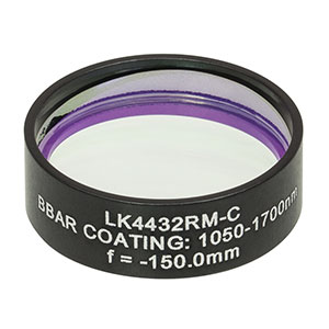LK4432RM-C - f= -150.0 mm, Ø1in, UVFS Mounted Plano-Concave Round Cyl Lens, ARC: 1050 - 1700 nm