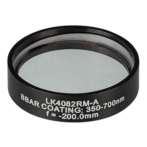 LK4082RM-A - f= -200.0 mm, Ø1in, UVFS Mounted Plano-Concave Round Cyl Lens, ARC: 350 - 700 nm