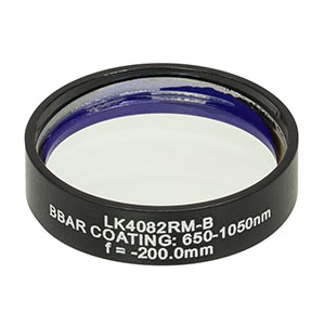 LK4082RM-B - f= -200.0 mm, Ø1in, UVFS Mounted Plano-Concave Round Cyl Lens, ARC: 650 - 1050 nm