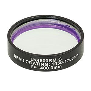 LK4500RM-C - f= -400.0 mm, Ø1in, UVFS Mounted Plano-Concave Round Cyl Lens, ARC: 1050 - 1700 nm