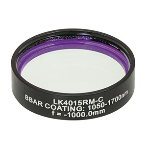 LK4015RM-C - f= -1000.0 mm, Ø1in, UVFS Mounted Plano-Concave Round Cyl Lens, ARC: 1050 - 1700 nm