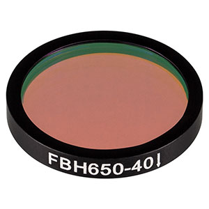 FBH650-40 - Premium Bandpass Filter, Ø25 mm, CWL = 650 nm, FWHM = 40 nm
