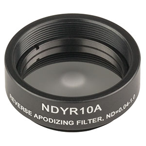 NDYR10A - Mounted Ø25 mm Reverse Apodizing Reflective ND Filter, OD: 0.04 - 1