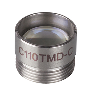 C110TMD-C - f = 6.24 mm, NA = 0.40, Mounted Aspheric Lens, ARC: 1050 - 1700 nm