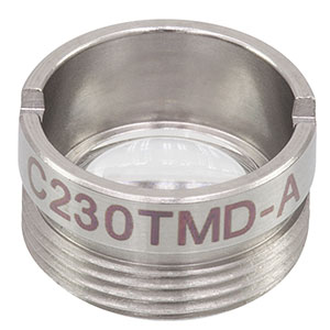 C230TMD-A - f = 4.51 mm, NA = 0.55 Mounted Geltech Aspheric Lens, AR: 350 - 700 nm