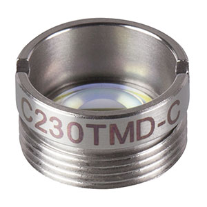 C230TMD-C - f = 4.51 mm, NA = 0.55, Mounted Geltech Aspheric Lens, AR: 1050-1700 nm
