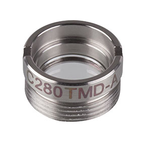 C280TMD-A - f = 18.40 mm, NA = 0.15, Mounted Aspheric Lens, ARC: 350 - 700 nm