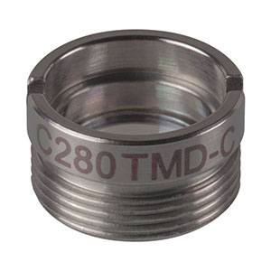 C280TMD-C - f = 18.40 mm, NA = 0.15, Mounted Aspheric Lens, ARC: 1050 - 1700 nm