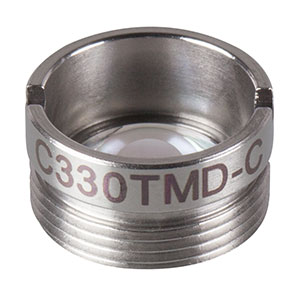 C330TMD-C - f = 3.1 mm, NA = 0.7, Mounted Aspheric Lens, ARC: 1050 - 1700 nm