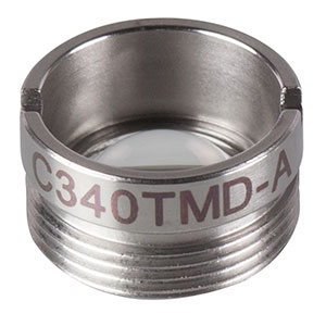 C340TMD-A - f = 4.03 mm, NA = 0.64, Mounted Geltech Aspheric Lens, AR: 350 - 700 nm