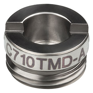 C710TMD-A - f = 1.49 mm, NA = 0.53, Mounted Geltech Aspheric Lens, AR: 350 - 700 nm