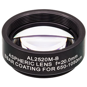 AL2520M-B - Ø25 mm S-LAH64 Mounted Aspheric Lens, f=20 mm, NA=0.54, ARC: 650-1050 nm