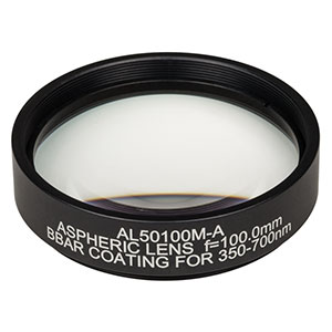 AL50100M-A - Ø50 mm N-BK7 Mounted Aspheric Lens, f=100 mm, NA=0.24, ARC: 350-700 nm