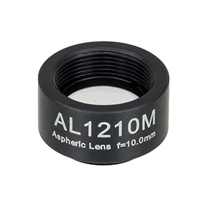 AL1210M - Ø12.5 mm S-LAH64 Mounted Aspheric Lens, f=10 mm, NA=0.55, Uncoated