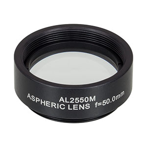 AL2550M - Ø25 mm N-BK7 Mounted Aspheric Lens, f=50 mm, NA=0.23, Uncoated