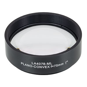 LA4078-ML - Ø2in UVFS Plano-Convex Lens, SM2-Threaded Mount, f = 75.0 mm, Uncoated